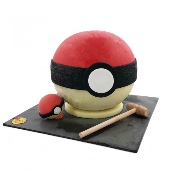 Pinata Poke ball ice cream cake