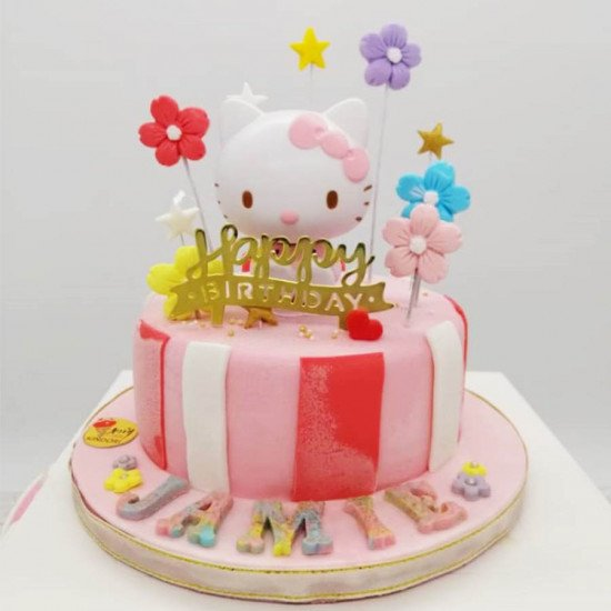 Super Cute Hello Kitty Birthday Ice Cream Cake For Girls Order Personalised Birthday Cards Cominlily Jamesorg