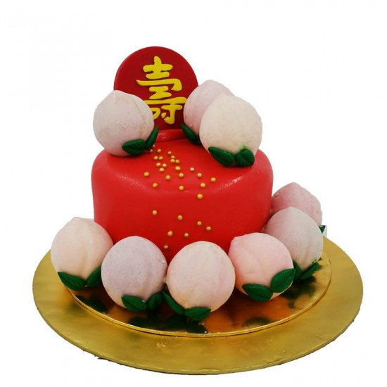 80th birthday cake 寿桃蛋糕